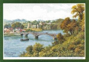J. Salmon Ltd Art Postcard Bridge and Castle Chepstow by A.R Quinton AB2