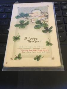 Vintage Postcard; Irish Happy New year, clovers
