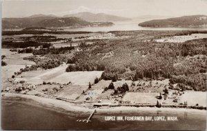 Lopez WA Lopez Inn Fishermen Bay Mt. Baker c1957 RPPC Postcard G27