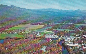 Aerial View Of Conway Looking North Showing Part Of Moat Mountain Range At Le...