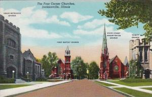 Illinois Jacksonville The Four Corner Churches 1947 Curteich