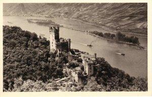 Sepia Burg Niederheimbach Rheinland Castle & Steam Ships on the River Vintage