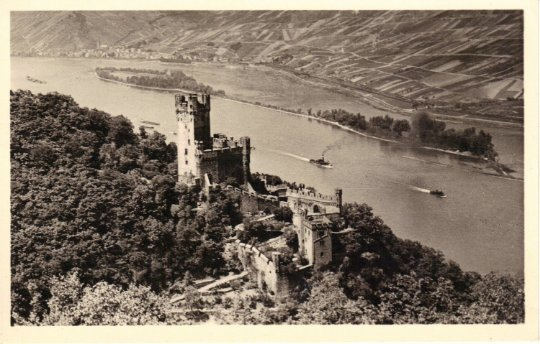 Sepia Burg Niederheimbach Rheinland Castle & Steam Ships on the River Vintage