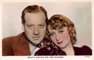 Melvyn Douglas and Joan Blondell Columbia Postcard