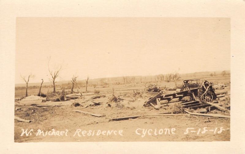 Antelope Co Nebraska~Wm Michael House Flattened~Cyclone~He's Gone~May 1918 RPPC