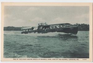 Old LAKESIDE Missouri MO Postcard SIGHT SEEING BOAT Bagnell Dam TUSCUMBIA