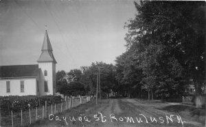 F55/ Romulus New York RPPC Postcard c1910 Cayuga Street Church