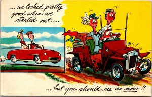 You Ought To See Us Now Car Comic Ted Martine POSTED HUMOR Vintage Postcard