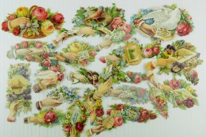1880's Fab Lovely Die Cut Victorian Lot of 26 Hands Ship Birds Letters PD264