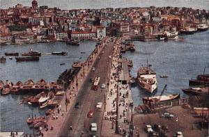 Turkey Istanbul Galata Koprusu Galata Bridge Auto Cars Boats Bateaux