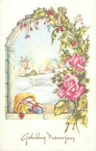 Winter Holidays Post card illustration New Year greeting