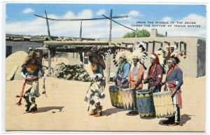 Pueblo Indian Drummers Native American New Mexico linen postcard