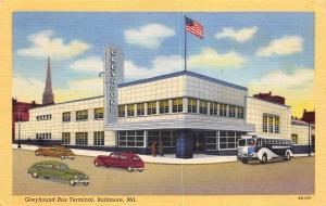 Baltimore Maryland 1940s Linen Postcard Greyhound Bus Terminal