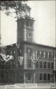 Owego NY Fire Station c1940 Unused Postcard