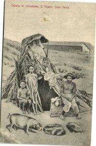 PC CPA CABO VERDE / CAPE VERDE S. VICENTE PESCADORES Vintage Postcard (b26741)