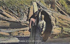 Logging at Coos Bay Oregon 1910c postcard