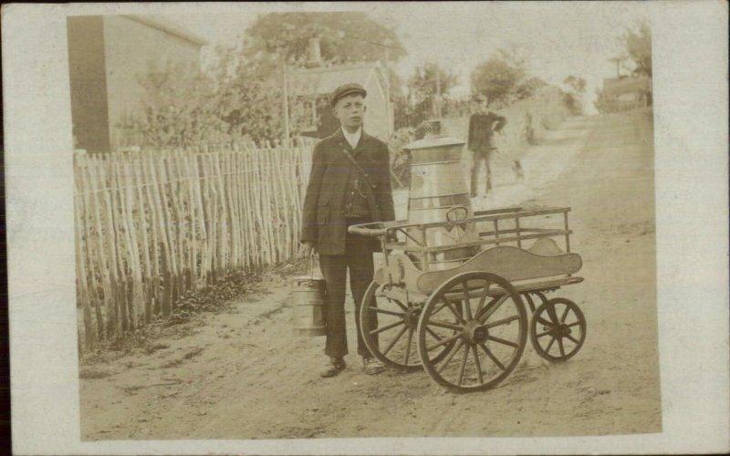 Child Labor Social History Boy Milk Delivery Wagon Good Message RPPC