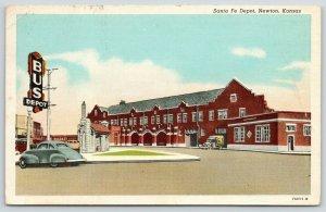 Newton Kansas~Atchison Topeka & Santa Fe Railway Depot~Bus Station Across~1943