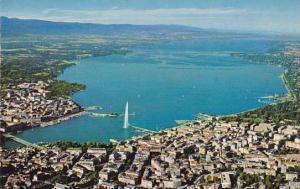 Switzerland Geneve Vue aerienne generale le lac Leman