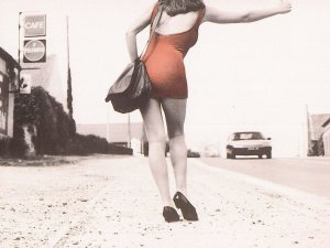 Woman In Red Dress Hitchhiking Hitchhiker Road Cafe Photo Postcard