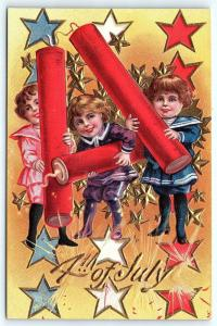 Postcard Fourth 4th of July Patriotic Children Exaggerated Firecrackers A01