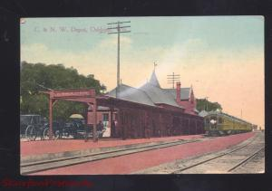 OSHKOSH WISCONSIN C&NW RAILROAD DEPOT TRAIN STATION VINTAGE POSTCARD WIS.