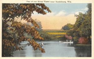 One of Our River Views near Reedsburg Wisconsin~Couple Boating~1918 Postcard