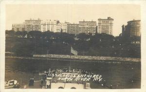 U.S.S. Bathleship Florida anchored North River New York Real Photo Postcard