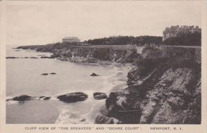 Rhode Island Newport Cliff View Of The Breakers and Ochre Court Albertype