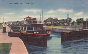 Boat in Lock on Erie Canal - Utica NY, New York - Linen