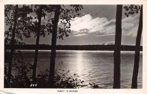Sunset Over Lake Muskoka~Leaves Are Gorgeous~Having Wonderful Time RPPC 1951