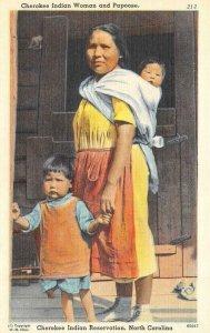 NC, North Carolina CHEROKEE INDIAN WOMAN~CHILDREN  c1940s Native Americana Linen