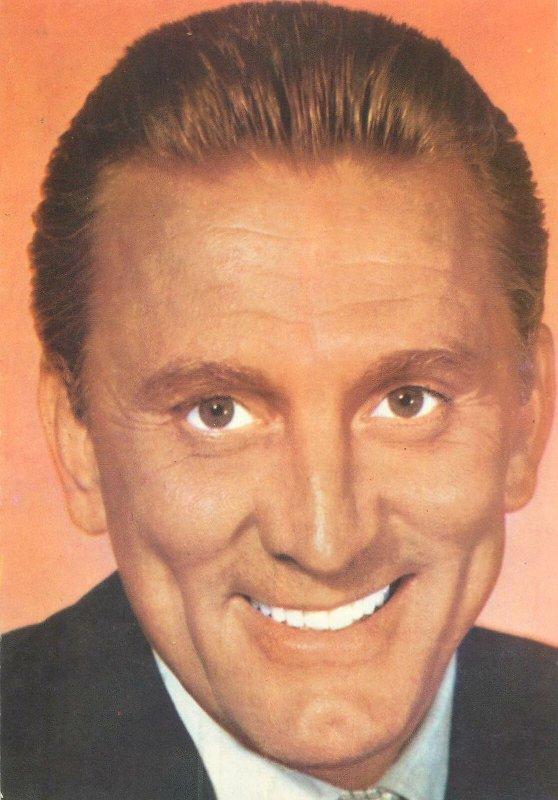 Postcard Actor film star movie man Kirk douglas suit portrait smile