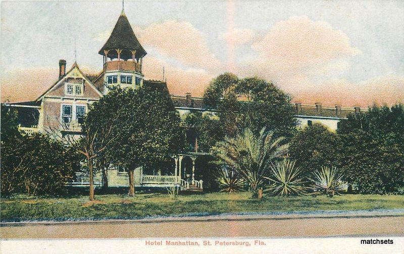1909 St Petersburg Florida Hotel Manhattan American News postcard 9034