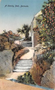 Bermuda Post card Old Vintage Antique Postcard A Sketchy Path Writing on back...
