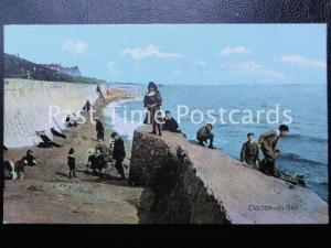 c1908 - Clacton on Sea - Excellent animated beach scene with children playing