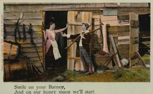 Vintage Postcard 1908 Smile on Your Barney, And on our Honey Moon we'll Start