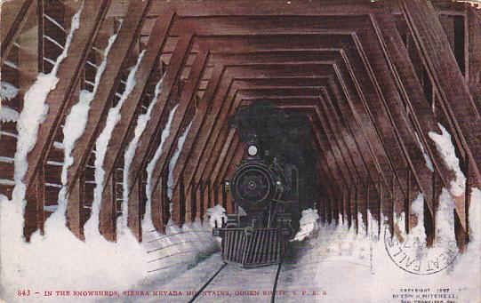 Train In The Snowshed Sierra Nevada Mountains Ogden Route Southern Pacific Ra...