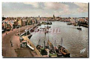 Old Postcard Les Sables d'Olonne Vendee Port Fishing Boat
