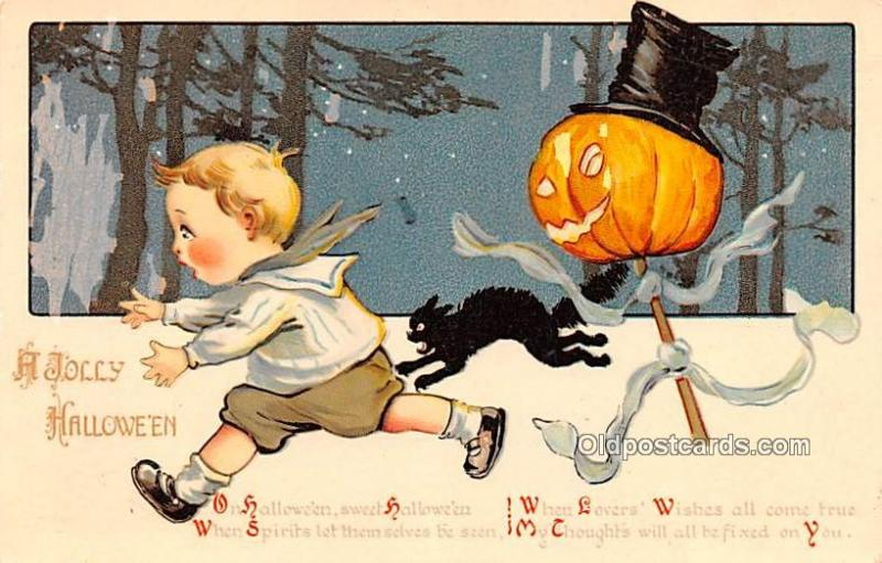 Halloween Post Card Old Vintage Antique Halloween Postcard