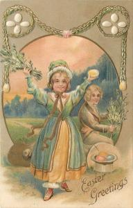 Easter~Victorian Children Collect Colored Eggs in Top Hat~Egg Garland~Embossed