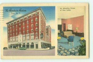 Hendrick Hudson Hotel with New Lobby Inset Troy, New York 1950 Postcard