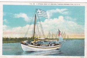 Florida Tarpon Springs A Sponge Boat At Anchor Curteich