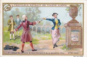 Liebig Trade Card S.623 Duelling No 5 Assaut du chevalier de Saint Georges et...