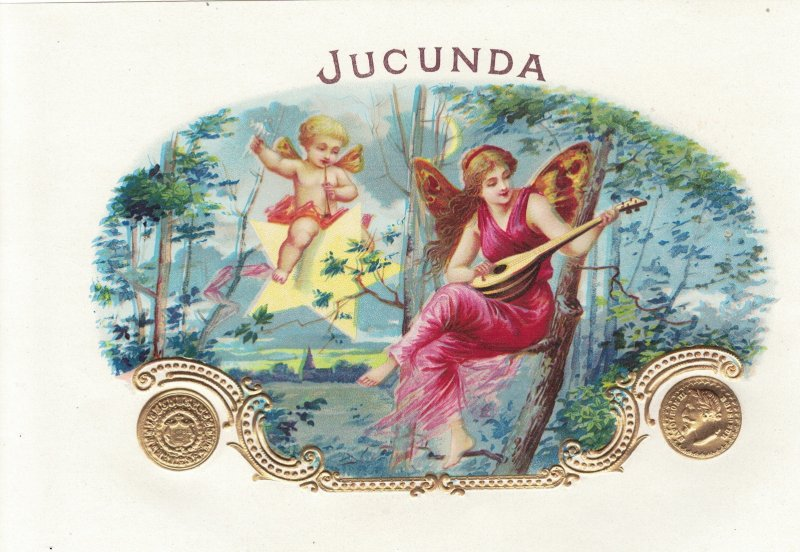 HI1054  INNER AND OUTER CIGARBOX LABEL SET JUCUNDA ANGEL PLAYING MANDOLIN