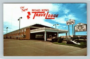 Grand Forks ND- North Dakota, Road King Travel Lodge, Advertise, Chrome Postcard