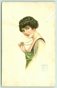 RAPPINI~Flapper Fingers Bead Necklace~Lovely Lady Profile~Lime Gown~PAR 221-4