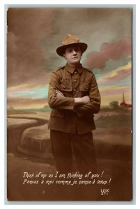 WWI RPPC Soldier Think Of Me As I Am Thinking Of You Romantic Hand Colored Photo