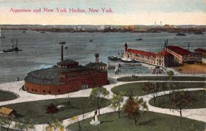 Aquarium and New York Harbor, New York, N.Y., Early Postcard, Unused