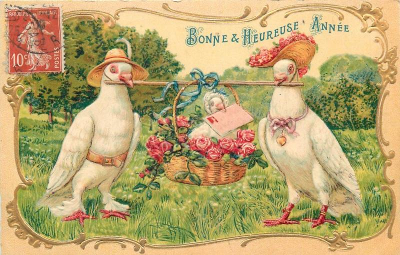 embossed humanized white doves pigeons family fantasy new year greetings